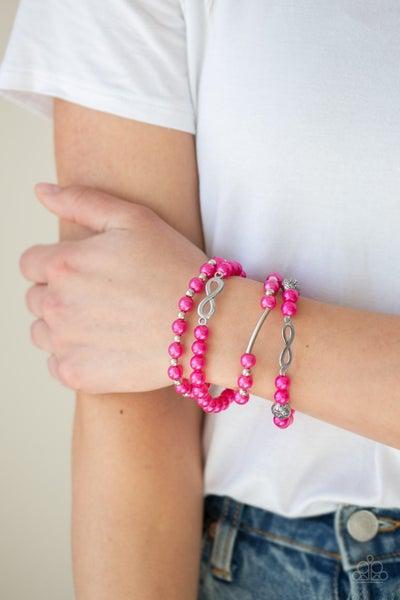 Limitless Luxury - Pink Stretchy Bracelet