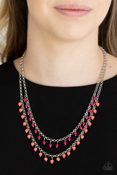 Dainty Distraction - Multi/Orange Pink Necklace