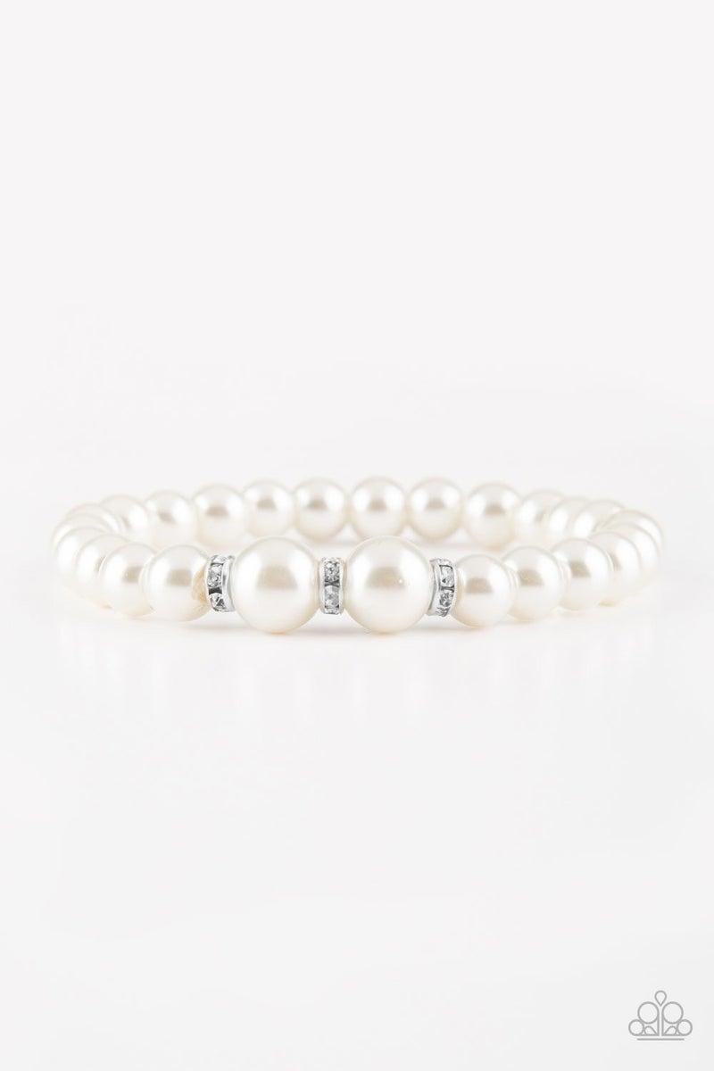 Radiantly Royal - White Stretchy Bracelet