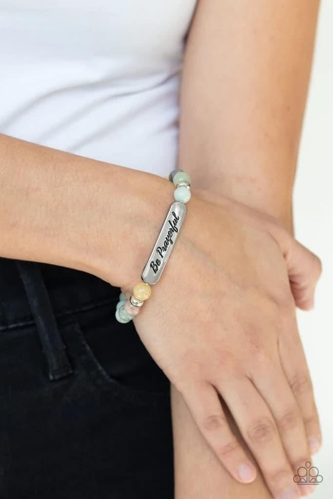 Be Prayerful - Green Stretchy Bracelet