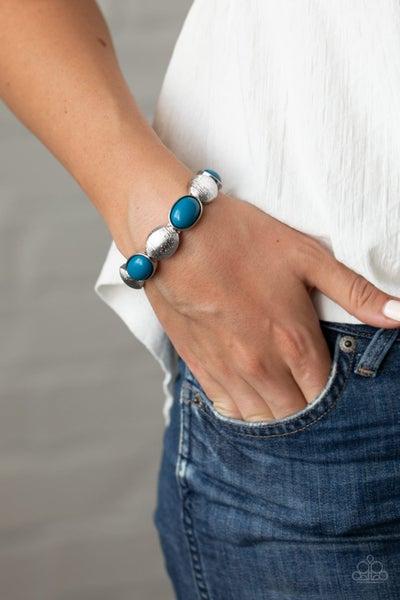 Decadently Dewy - Blue Stretchy Bracelet