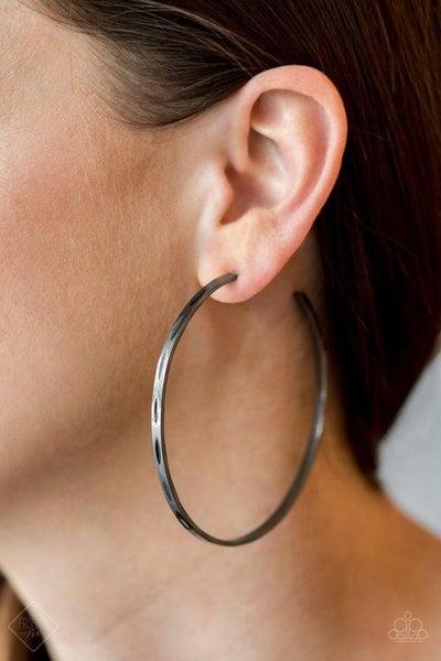 Full On Radical - Gunmetal Hoop Earrings - July 2020 Fashion Fix