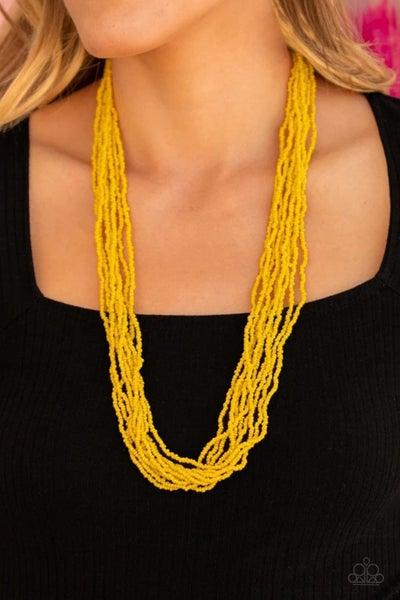 Congo Colada - Yellow Seed Bead Necklace
