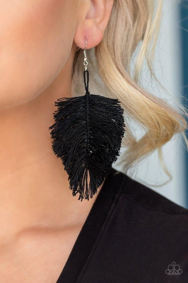 Hanging by a Thread - Black Earrings