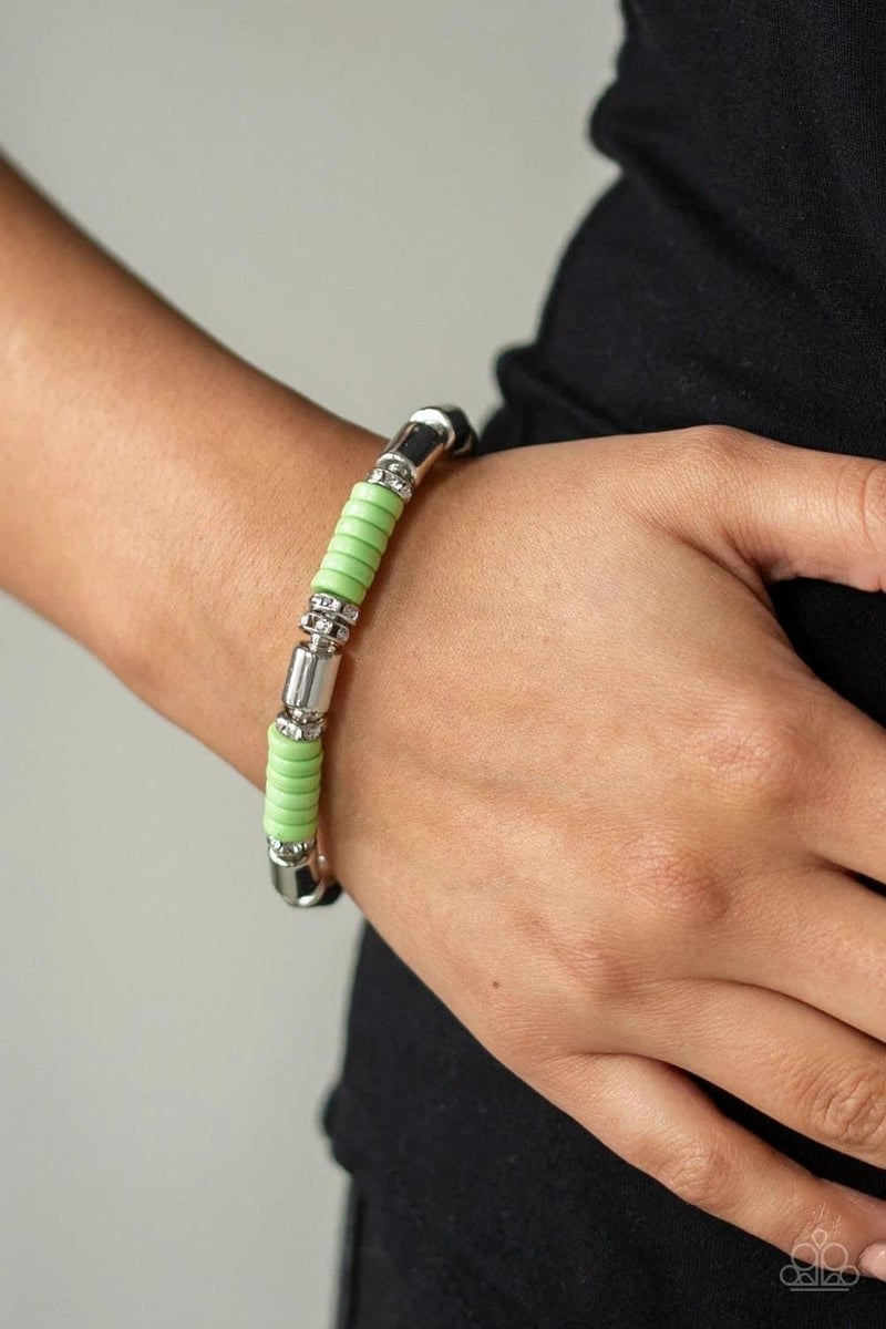 Whimsical Wanderer - Green Stretchy Bracelet