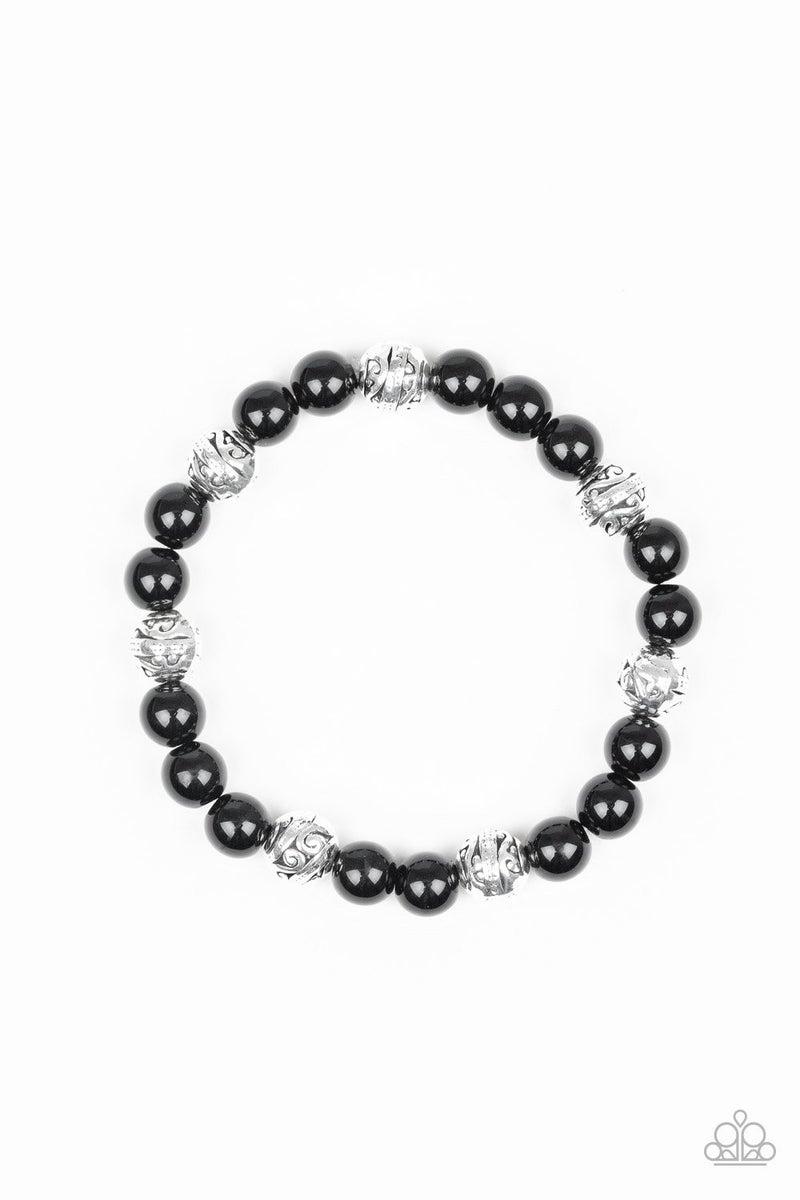 Poised For Perfection - Black Stretchy Bracelet