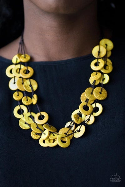 Wonderfully Walla Walla - Yellow Wooden Necklace