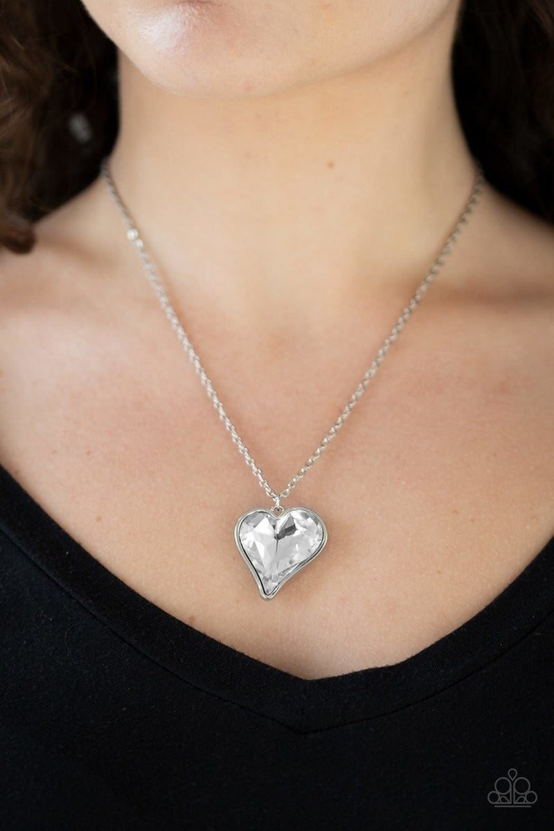 Heart Flutter - White Necklace