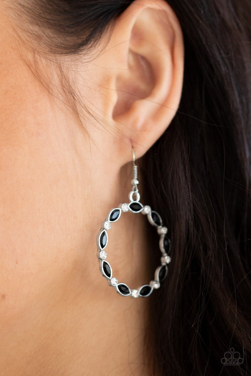 Crystal Circlets - Black Earrings