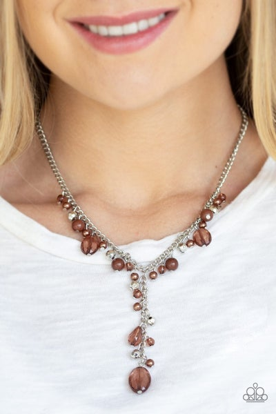 Crystal Couture - Brown Necklace