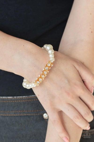 Traffic Stopping Sparkle - Gold Stretchy Bracelet