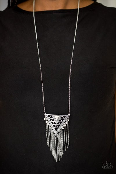 Colorfully Colossal - White Necklace