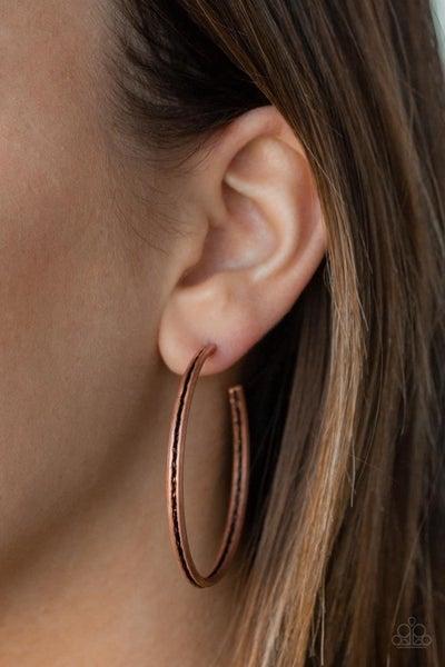 Texture Tempo - Copper Hoop Earrings
