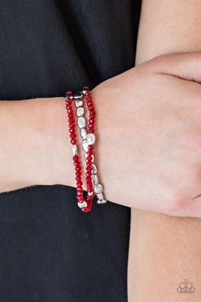 Hello Beautiful - Red Stretchy Bracelet