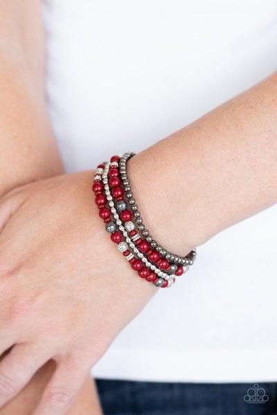 Stacked Style Maker - Red Stretchy Bracelet