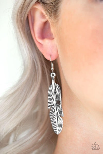 Feathers QUILL Fly - Silver Earrings