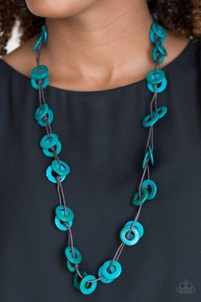Waikiki Winds - Blue Wooden Necklace