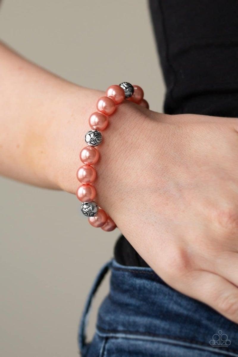 Rosy Radiance - Orange Stretchy Bracelet