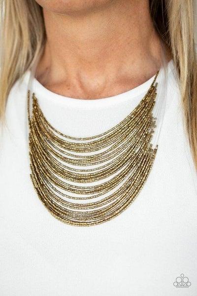 Catwalk Queen - Brass Seed Bead Necklace