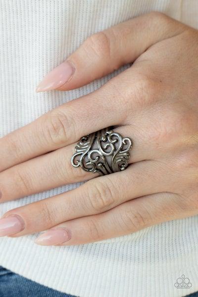 Voluptuous Vines - Gunmetal Ring
