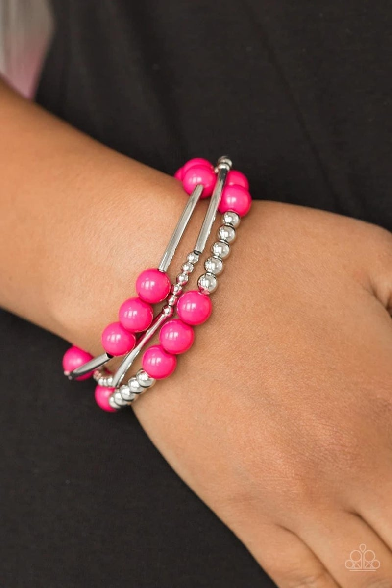 New Adventures - Pink Stretchy Bracelet