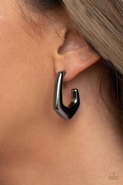 On The Hook - Gunmetal Hoop Earrings