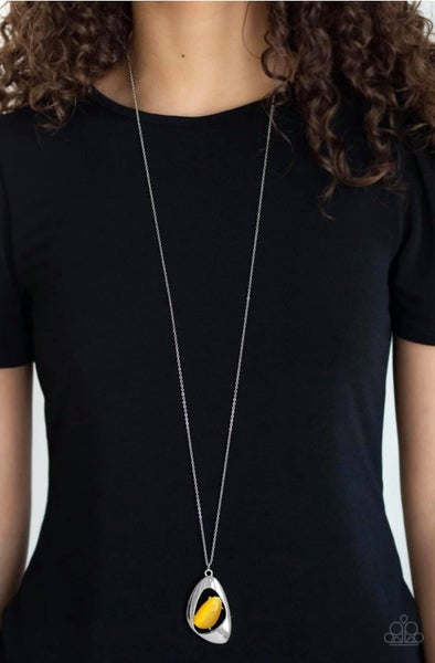 Asymmetrical Bliss - Yellow Necklace