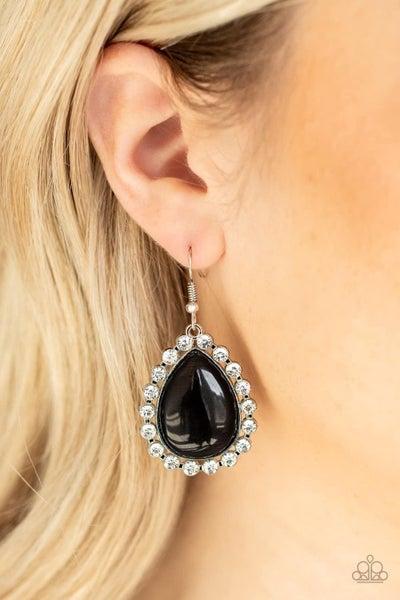 Teardrop Trendsetter - Black Earrings
