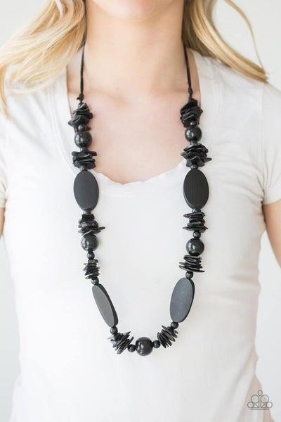 Carefree Cococay - Black Wooden Necklace