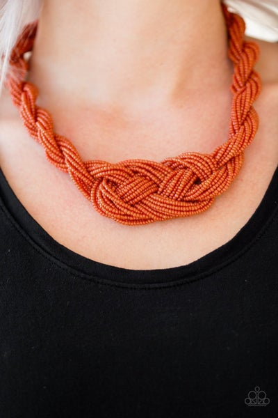 A Standing Ovation - Orange Seed Bead Necklace