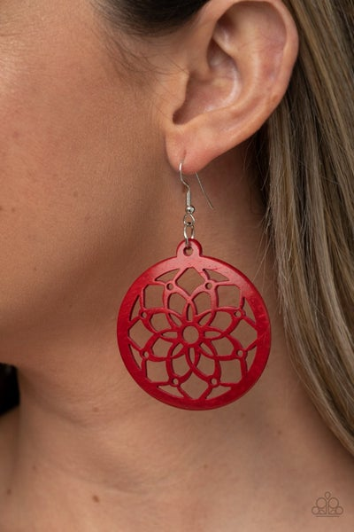 Mandala Meadow - Red Earrings