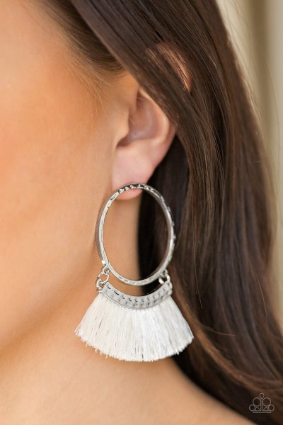 This Is Sparta! - White Earrings