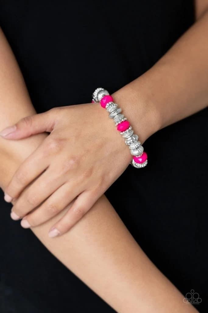 Live Life To The COLOR-fullest - Pink Stretchy Bracelet