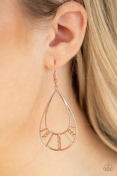 Line Crossing Sparkle - Copper Earrings