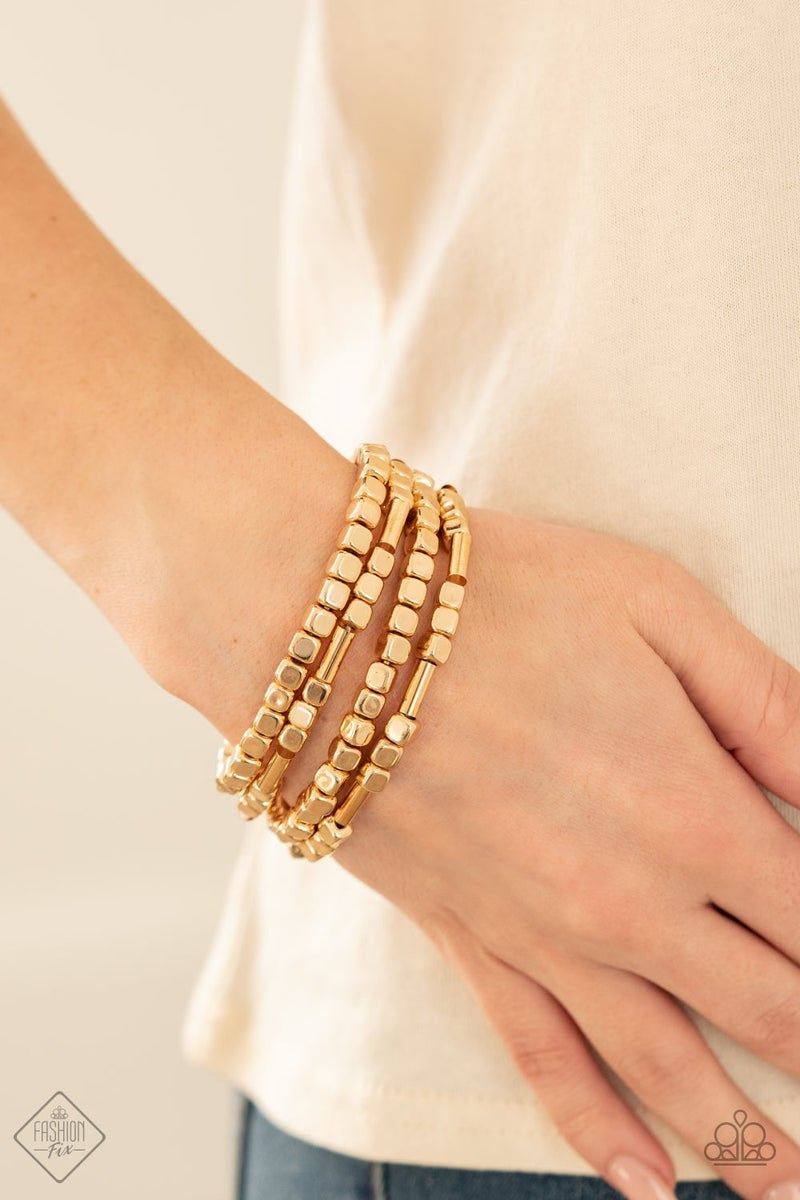 Metro Materials - Gold Stretchy Bracelet - April 2021 Fashion Fix