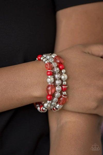Malibu Marina - Red Stretchy Bracelet
