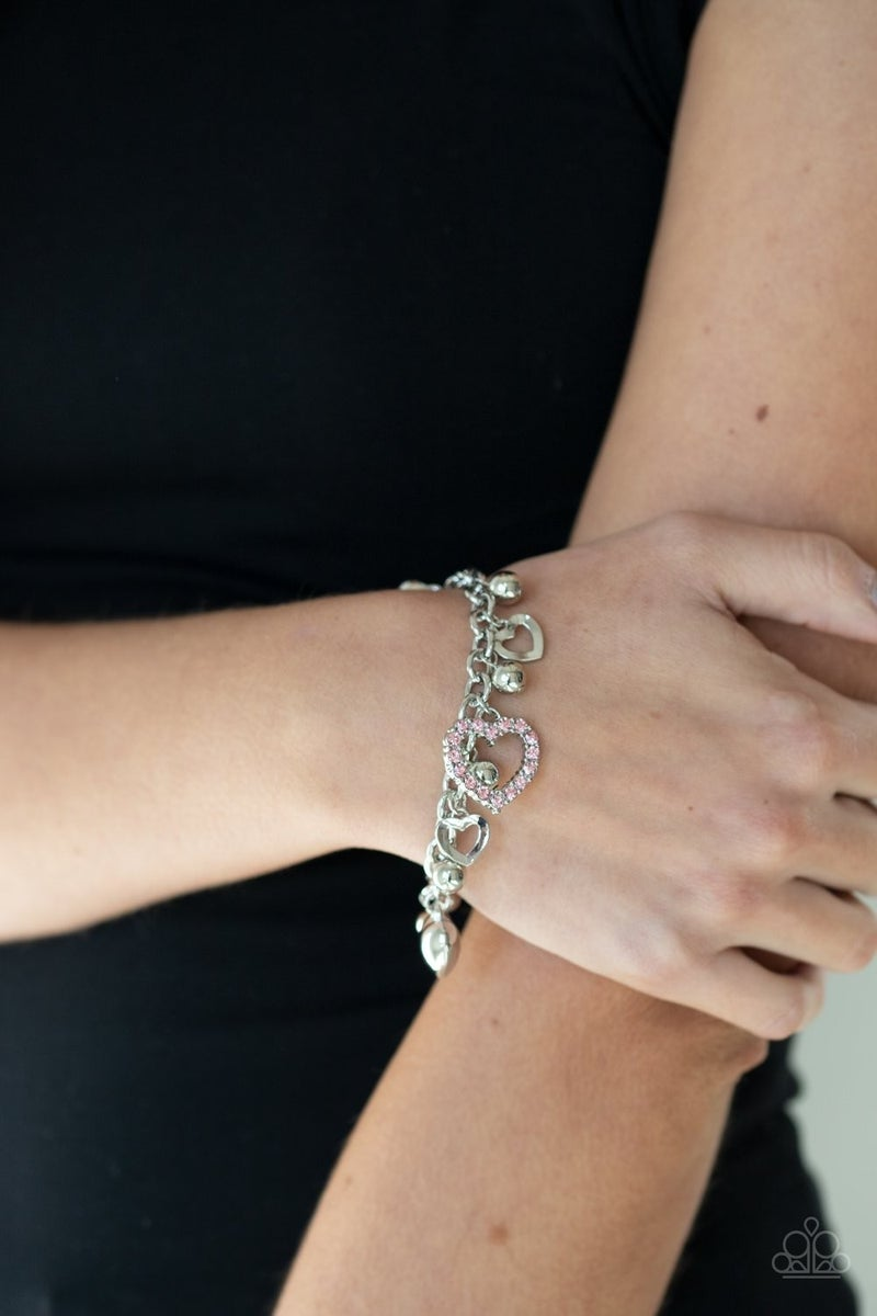Beautifully Big-Hearted - Pink Clasp Bracelet