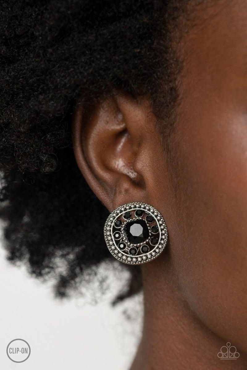 Dazzling Definition - Black Clip on Earrings