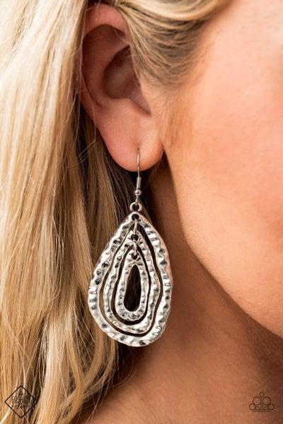 Metallic Meltdown - Silver Earrings - September 2020 Fashion Fix
