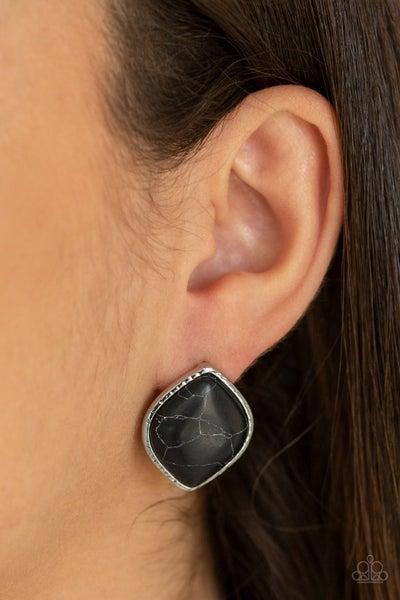 Marble Marvel - Black Earrings