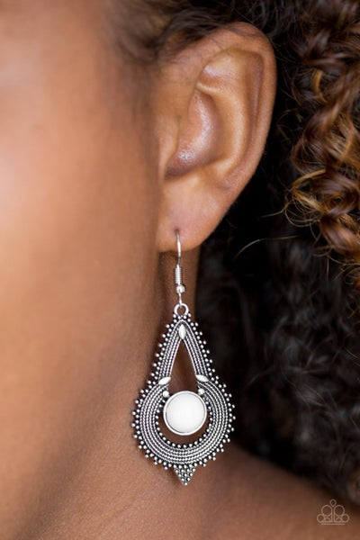 Zoomin Zumba - White Earrings