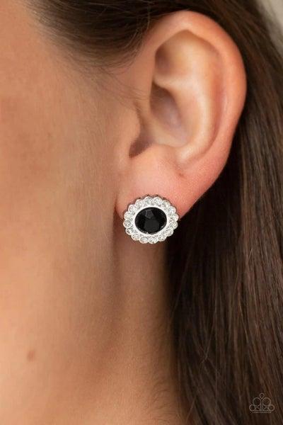 Floral Glow - Black Earrings