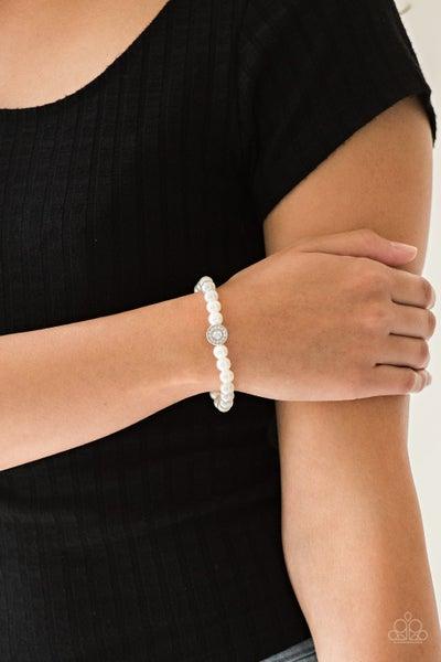 Follow My Lead - White Stretchy Bracelet