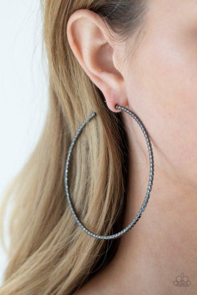 Pump Up The Volume - Gunmetal Hoop Earrings