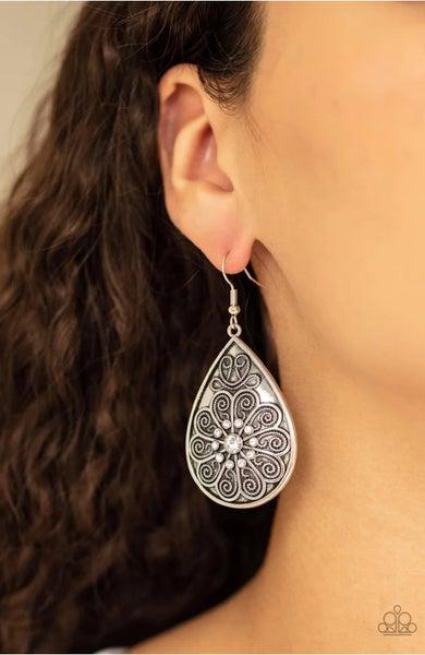 Banquet Bling - White Earrings