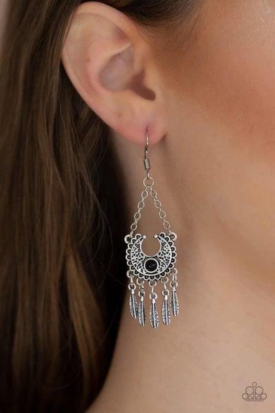 Fabulously Feathered - Black Earrings