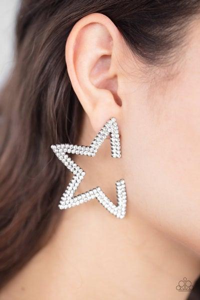 Star Player - White Earrings