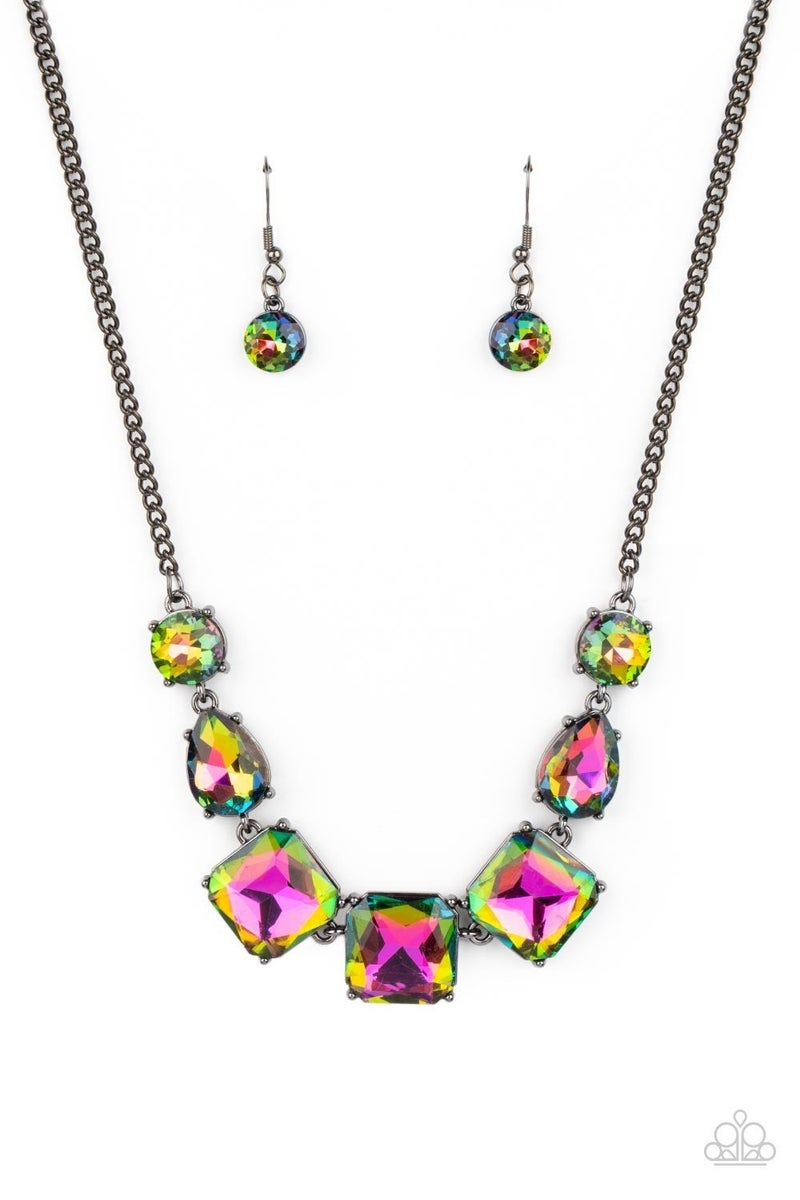 Unfiltered Confidence - Multi Gunmetal Necklace - Life of the Party Exclusive August 2021