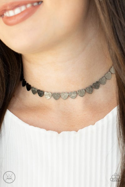 Playing HEART To Get - Gunmetal Necklace