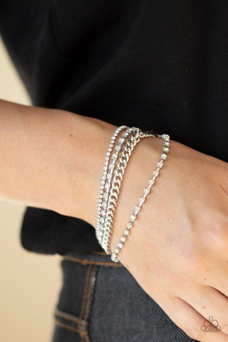 Brilliantly Beaming - White Clasp Bracelet